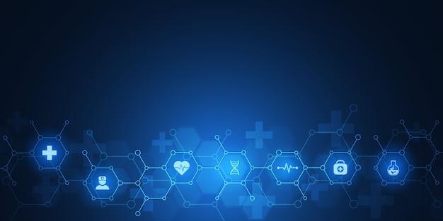 Fundo médico abstrato com ícones e símbolos. modelo com conceito e ideia para tecnologia de saúde, medicina de inovação, saúde, ciência e pesquisa.