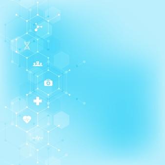 Fundo médico abstrato com ícones e símbolos planos