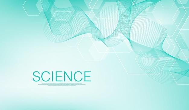 Fundo médico abstrato. molécula de conceito de rede de biotecnologia, ilustração.