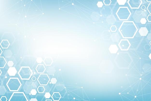 Fundo médico abstrato, pesquisa de dna, molécula, genética, genoma, cadeia de dna. conceito de arte de análise genética com hexágonos, linhas, pontos. molécula de conceito de rede de biotecnologia, ilustração vetorial