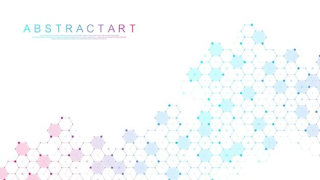 Fundo médico abstrato, pesquisa de dna, molécula, genética, genoma, cadeia de dna. conceito de arte de análise genética com hexágonos, ondas, linhas, pontos. molécula de conceito de rede de biotecnologia, vetor.