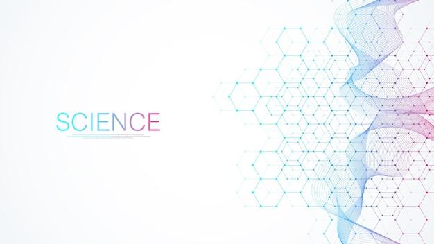 Fundo médico abstrato, pesquisa de dna, molécula, genética, genoma, cadeia de dna, vetor