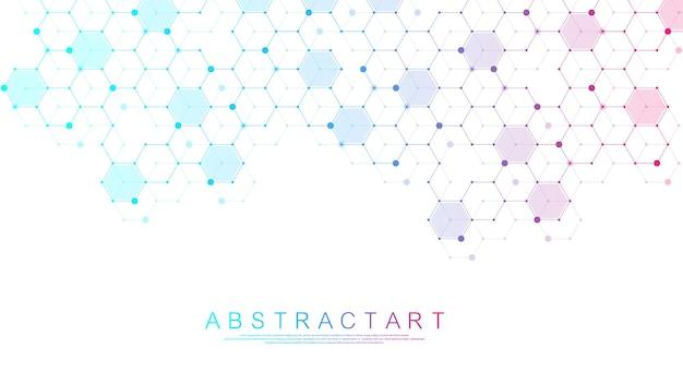 Fundo médico abstrato, pesquisa de dna, molécula, genética, genoma, cadeia de dna