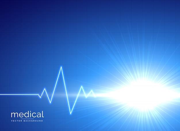 Fundo médico azul com eletrocardiograma