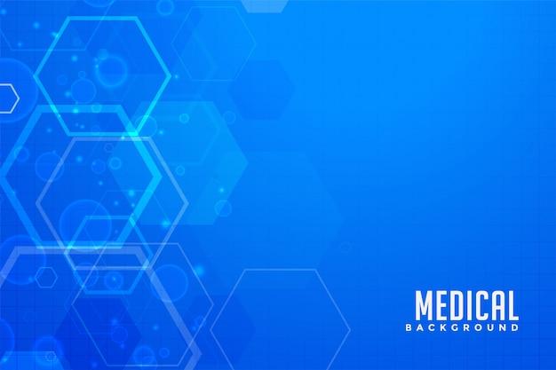 Fundo médico azul com formas hexagonais