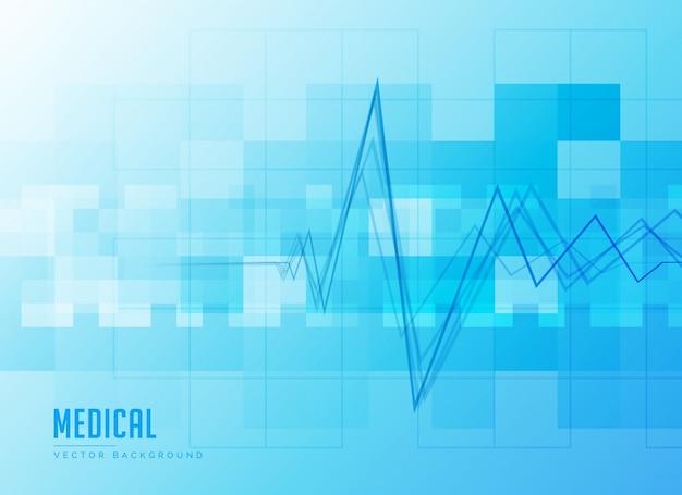 Fundo médico azul com linha do batimento cardíaco