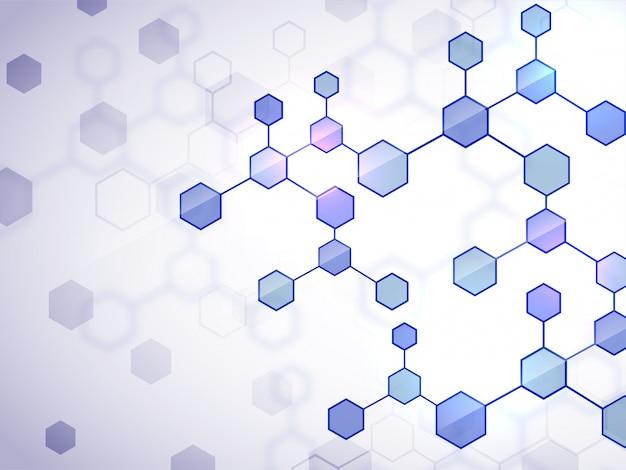 Fundo médico criativo com estrutura de moléculas planas brilhantes.