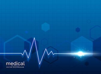 Fundo médico de saúde com linha de batida de coração