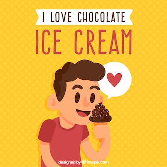Fundo, menino, comer, chocolate, gelo, creme