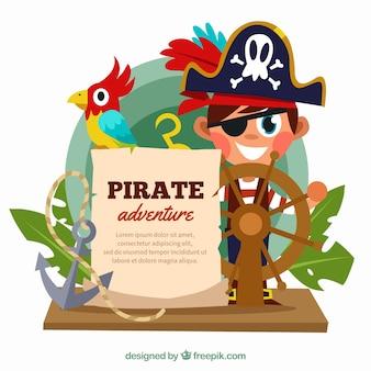 Fundo, menino, pirata, chapéu, leme