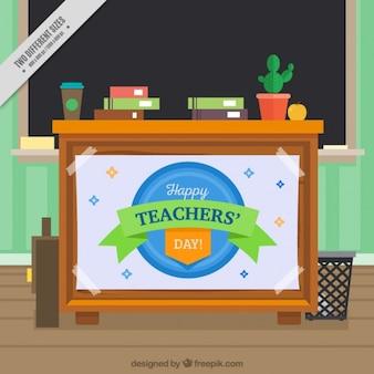 Fundo mesa do professor com quadro-negro