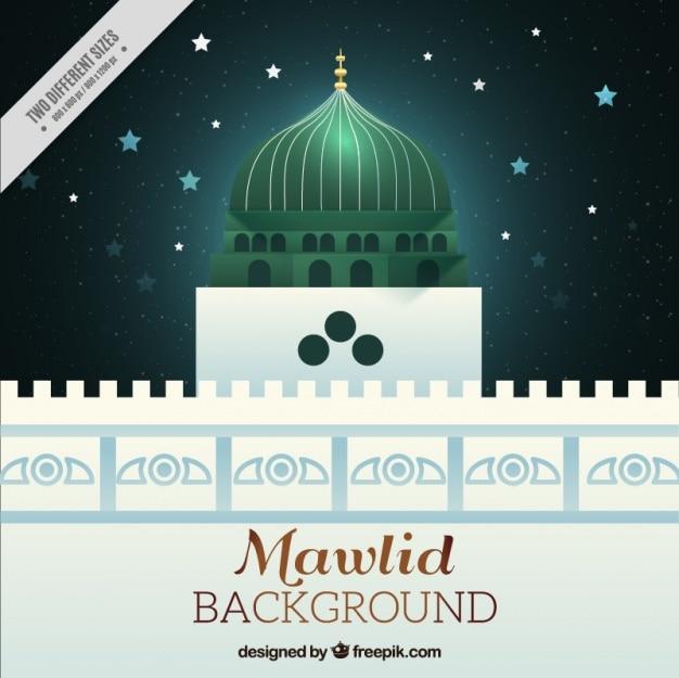 Fundo mesquita mawlid e céu estrelado