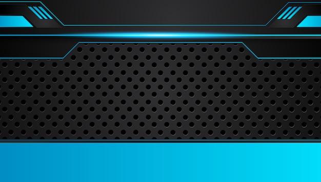 Fundo metálico abstrato azul e preto do conceito da inovação da tecnologia do projeto.