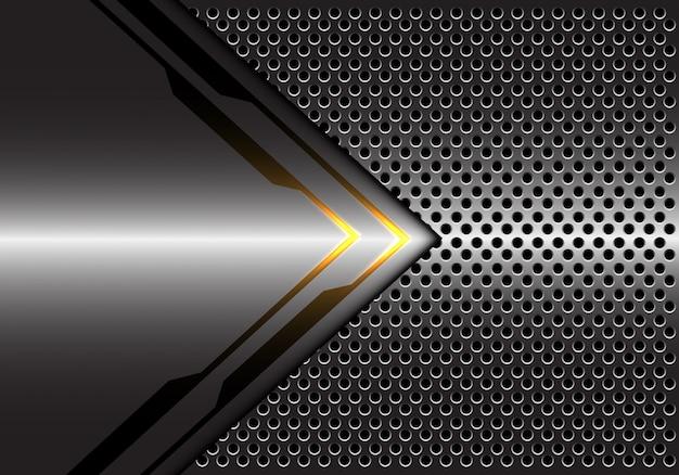 Fundo metálico cinzento da malha do círculo do sentido da seta da luz amarela.