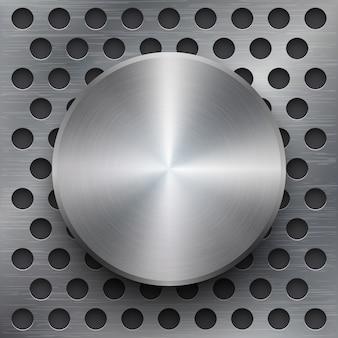 Fundo metálico com banner 3d. textura lustrosa de prata ou ferro polida, ilustração vetorial