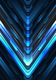 Fundo metálico da tecnologia da seta do cyber preto azul da luz da seta.