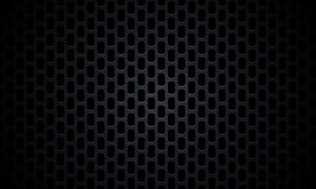 Fundo metálico preto perfurado. textura escura de fibra de carbono. fundo de aço de textura de metal preto.