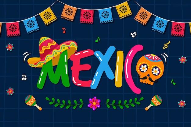Fundo mexicano colorido com caveira