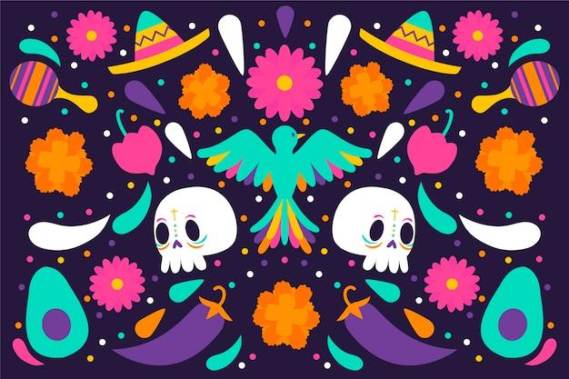 Fundo mexicano colorido com caveiras e pássaros