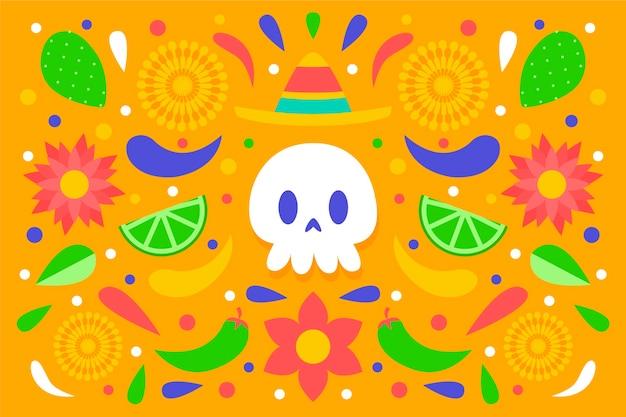 Fundo mexicano colorido com crânio vista frontal