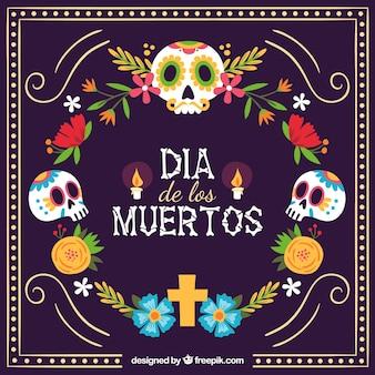 Fundo mexicano colorido com crânios