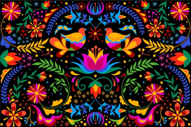 Fundo mexicano colorido com flores e pássaros