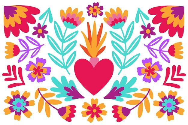Fundo mexicano colorido com flores