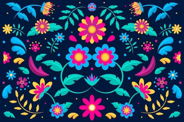Fundo mexicano colorido com ornamentos florais