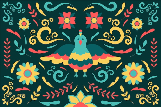 Fundo mexicano colorido com pássaro