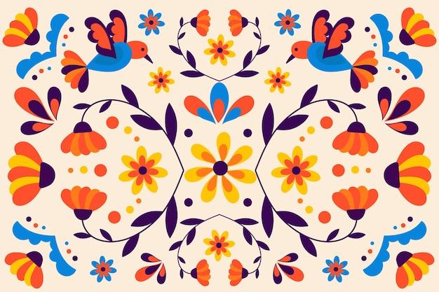 Fundo mexicano colorido com pássaros e natureza