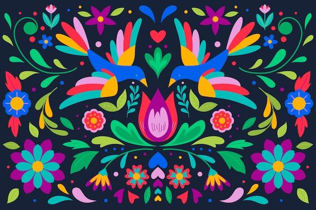 Fundo mexicano colorido com pássaros