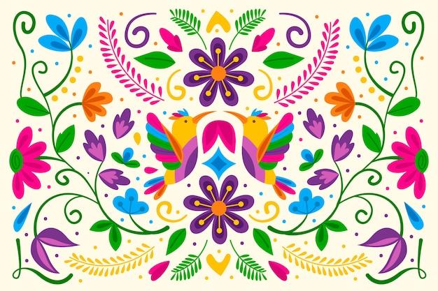 Fundo mexicano colorido design plano