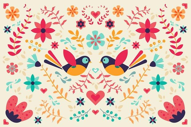 Fundo mexicano colorido em design plano