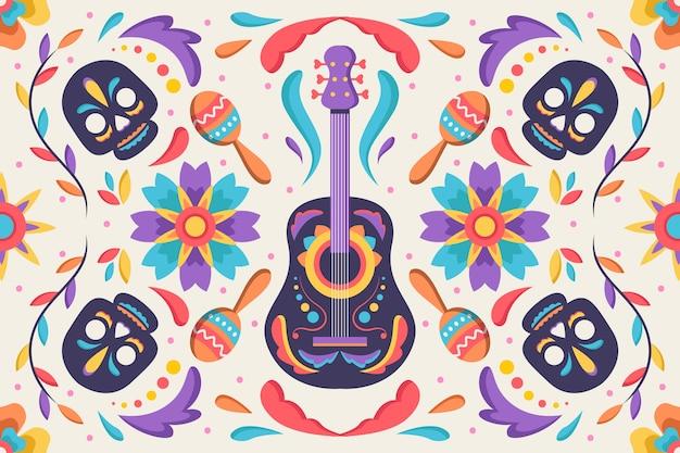 Fundo mexicano com caveiras e guitarra