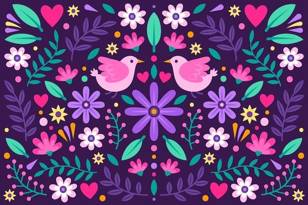 Fundo mexicano floral colorido