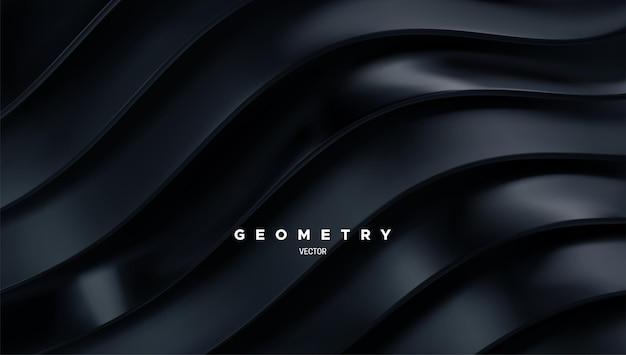 Fundo minimalista abstrato com fitas pretas onduladas