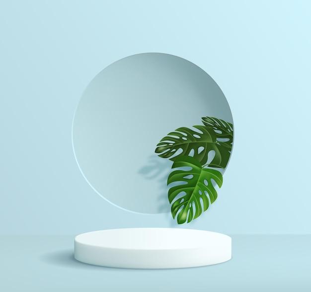 Fundo minimalista abstrato com um pedestal em tons de azuis. pódio vazio para exposição de produtos com decorações de folhas tropicais de monstera.