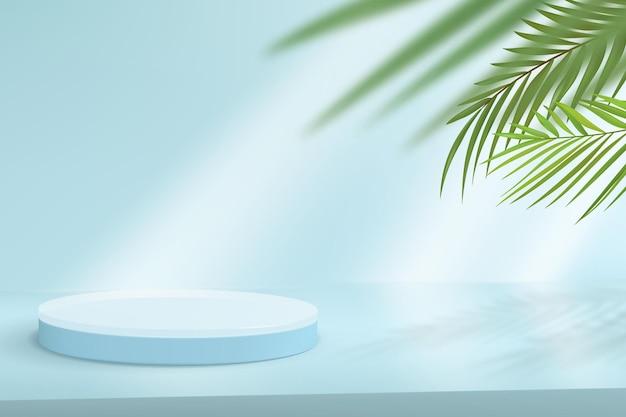 Fundo minimalista com pódio para demonstração do produto. cena abstrata em tons de azuis com folhas tropicais no fundo.