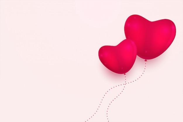 Fundo mínimo de corações rosa com espaço de texto