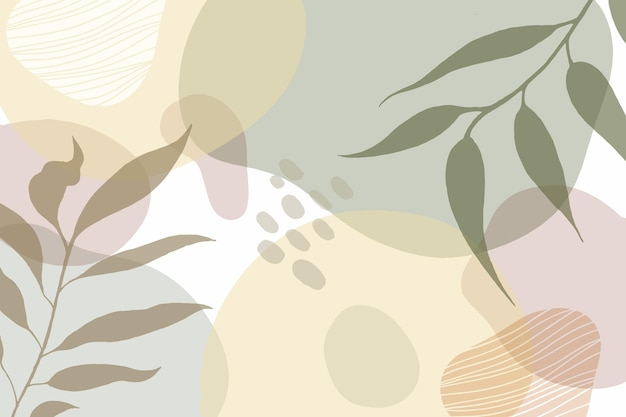 Fundo mínimo desenhado à mão com folhas