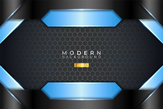 Fundo moderno 3d realista metálico brilhante azul claro e preto