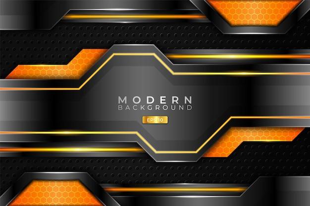 Fundo moderno 3d realista metálico brilhante laranja e prata