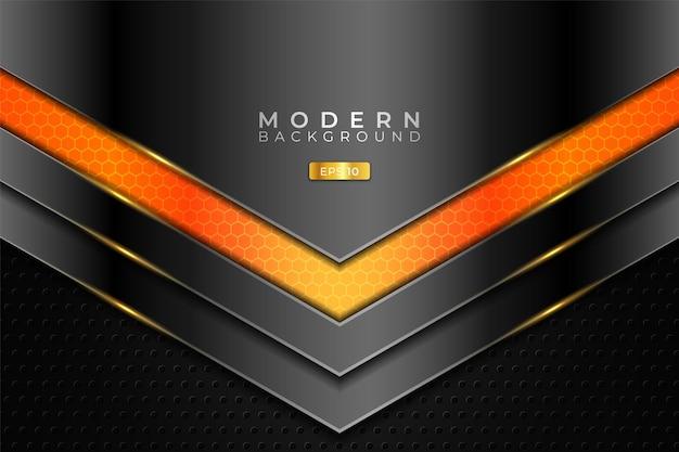 Fundo moderno 3d realista sobreposto com tecnologia metálica brilhante laranja e prata