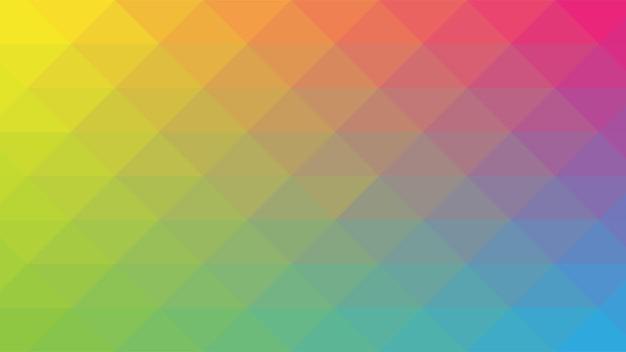 Fundo moderno abstrato com gradiente de cores vibrantes em arco-íris e elemento de mosaico lowpoly