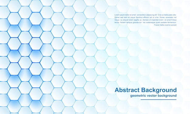 Fundo moderno, abstrato, futurista, geométrico de hexágono azul