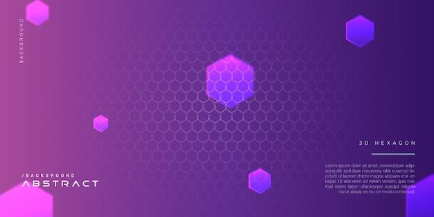 Fundo moderno abstrato roxo do hexágono 3d