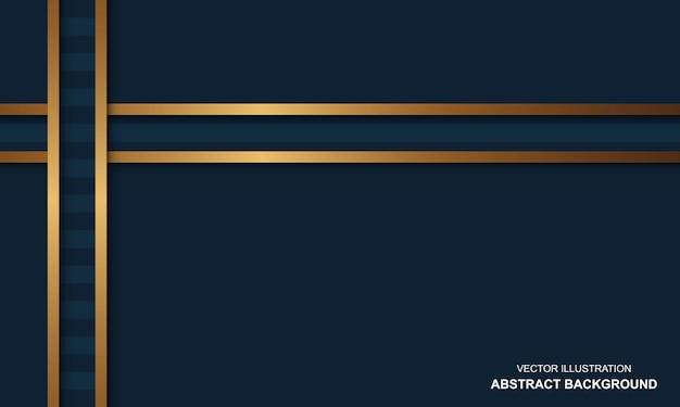 Fundo moderno azul com conceito de luxo de linhas douradas