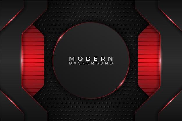 Fundo moderno círculo realístico tecnologia metálica brilhante em vermelho e escuro