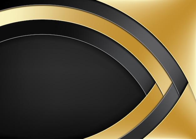Fundo moderno com camadas de ouro e preto