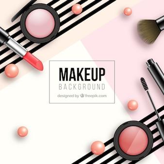 Fundo moderno com cosméticos realistas